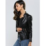 Zipper Slimming Faux Leather Jacket for sale