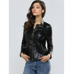 Zipper Slimming Faux Leather Jacket deal