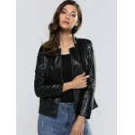 cheap Zipper Slimming Faux Leather Jacket