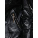 Zipper Slimming Faux Leather Jacket photo