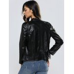 best Zippers Long Sleeve Slimming Faux Leather Jacket