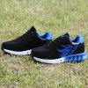 Buy Breathable Tie Colour Block Athletic Shoes 42 BLUE AND BLACK