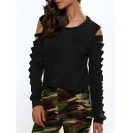 Cut Out  Long Sleeve Cropped Blouse