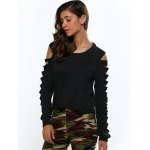 Cut Out Shoulder Long Sleeve Cropped Blouse deal