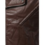 Plus Size Epaulet Design PU-Leather Turn-Down Collar Zip-Up Jacket deal