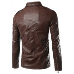 cheap Plus Size Epaulet Design PU-Leather Turn-Down Collar Zip-Up Jacket
