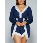 Plus Size V Neck Lace Splicing Romper