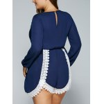 best Plus Size V Neck Lace Splicing Romper