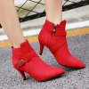 cheap Buckle Cross Strap Point Toe Suede Ankle Boots