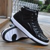 PU Leather Stitching Tie Up Casual Shoes