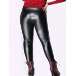 cheap Elastic Waist Thicken Slim PU Pants