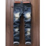 cheap Ruched Design Destroy Washed Moto Jeans