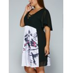 V Neck Backless Butterfly Skater Dress deal
