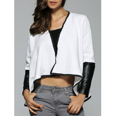 PU Leather Patchwork Textured High Low Jacket
