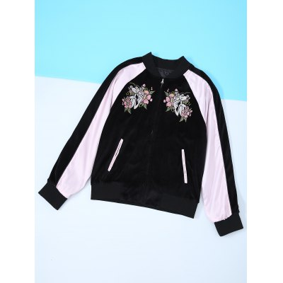 Long Sleeve Flower Embroidery Baseball Jacket