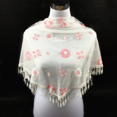 Leaf Embroidery Pendant Flower Pattern Triangle Lace Scarf