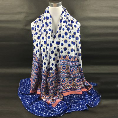 Flower and Geometry Pattern Scarf