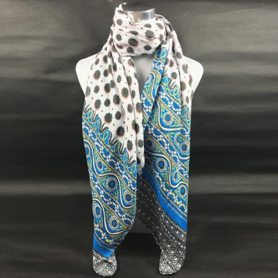 Concise Flower and Geometry Pattern Scarf