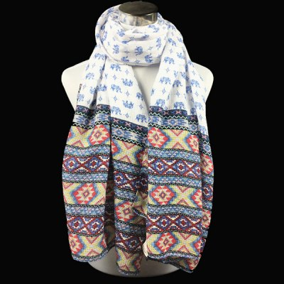 Small Elephant and Ethnic Print Scarf
