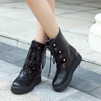 Tie Up Flat Heel PU Leather Short Boots