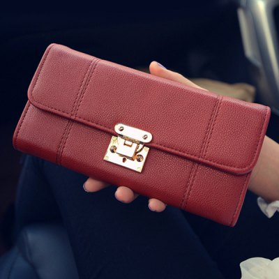 Metal Stitching PU Leather Wallet