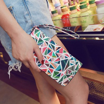 Colour Block Geometric Pattern PU Leather Wallet
