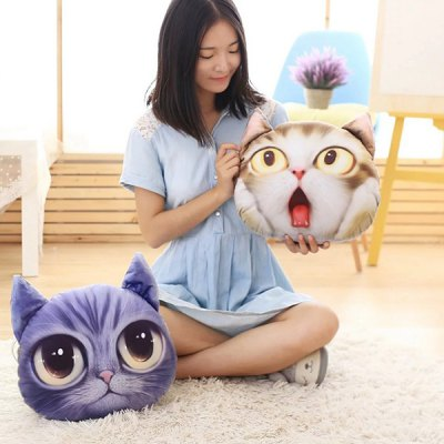 Detachable 3D Big Eyes Cathead Shape Sponge Padding Cartoon Pillow
