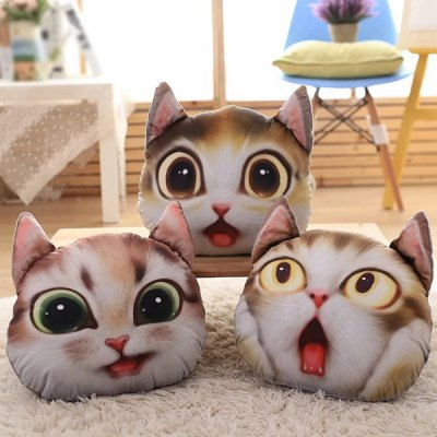 3D Cathead Shape Cartoon Detachable Sofa Pillow