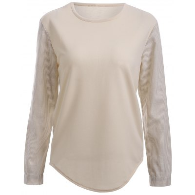 Long Sleeve Two-Tone High Low T-Shirt