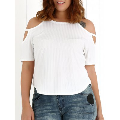 Plus Size Cut Out Ribbed Knitwear