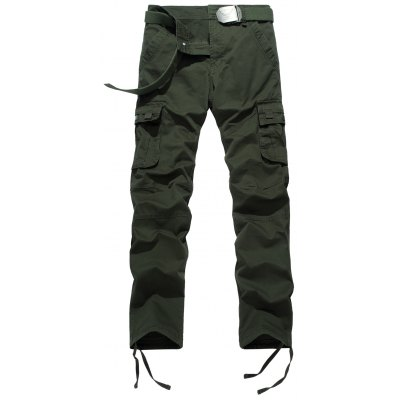 Plus Size Zipper Fly Pockets Design Drawstring Cargo Pants