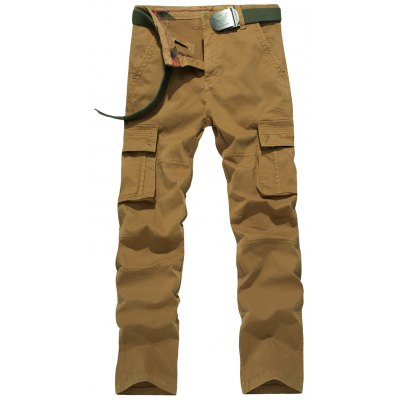 Plus Size Straight Leg Embroidery Pockets Design Cargo Pants
