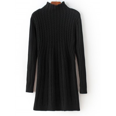 High Neck Long Sleeve Cable Knit Sweater Dress