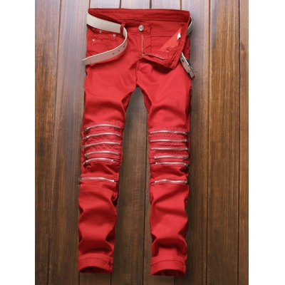 Zippers Embellished Zipper-Up Red Jeans