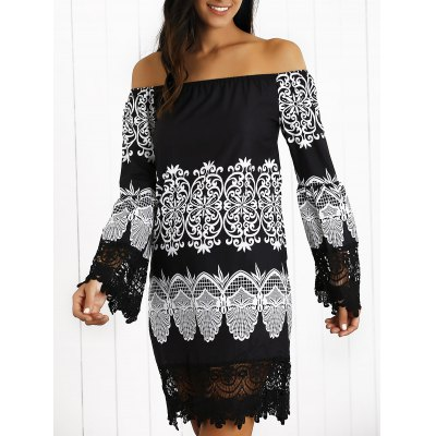 Off-The-Shoulder Paisley Laciness Dress