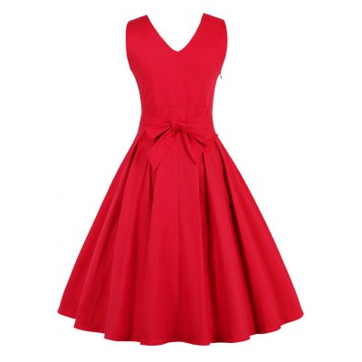 Retro Back Bowtie Sleeveless Midi DressMidi-Dress<br>Retro Back Bowtie Sleeveless Midi Dress<br><br>Style: Vintage<br>Material: Cotton Blend,Polyester<br>Silhouette: Ball Gown<br>Dresses Length: Mid-Calf<br>Neckline: V-Neck<br>Sleeve Length: Sleeveless<br>Embellishment: Bowknot<br>Pattern Type: Solid<br>With Belt: No<br>Season: Fall,Spring,Winter<br>Weight: 0.470kg<br>Package Contents: 1 x Dress