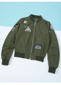 Patched Zipper Bomber Jacket