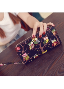 PU Leather Owl Pattern Color Splicing Wallet