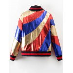 cheap Stand Neck Color Block Bomber Jacket