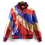 Stand Neck Color Block Bomber Jacket