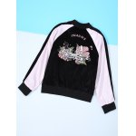 cheap Long Sleeve Flower Embroidery Baseball Jacket