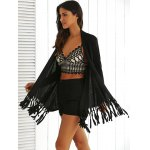 Collarless Long Sleeve Fringed Longline Outwear deal