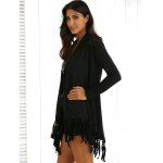 cheap Collarless Long Sleeve Fringed Longline Outwear