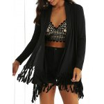 Collarless Long Sleeve Fringed Longline Outwear