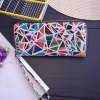 Colour Block Geometric Pattern PU Leather Wallet for sale