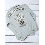 cheap Wash Bleach Letter Pattern Ripped Jacket