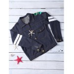 Letter Pattern Striped Loose-Fitted Jacket