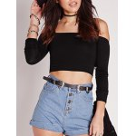 cheap Off The Shoulder Fitting Plain Crop Top