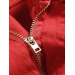 Zippers Embellished Zipper-Up Red Jeans deal