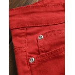 cheap Zippers Embellished Zipper-Up Red Jeans